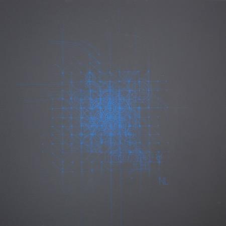 Dessin intuitif 2, acrylique sur bois, 90 x 90 cm, 2015