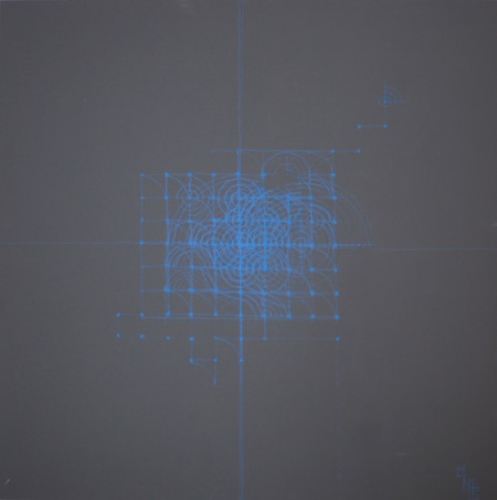 Sans titre, craie sur bois, 90 x 90 cm, 2015