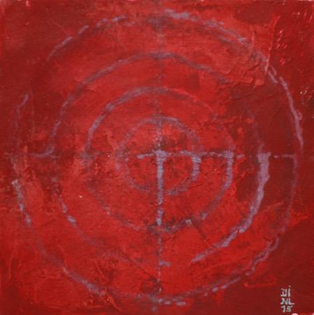 Dessin intuitif 4, huile sur bois, 13 x 13 cm, 2015