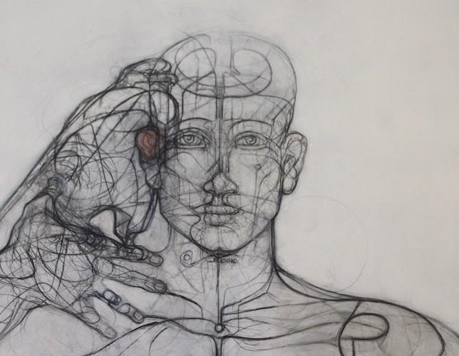Homme 3 - 90 x 90 cm - Techniques mixtes : bois - 2017