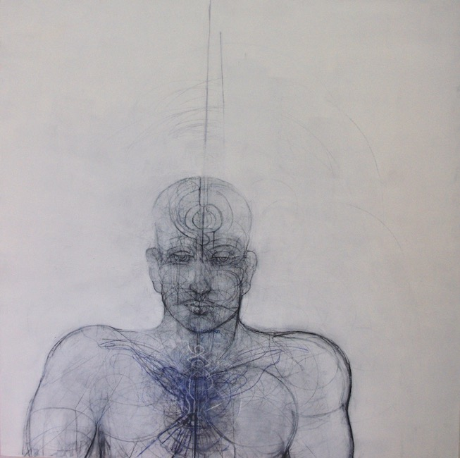 Homme 5 - 120 x 120 cm - Techniques mixtes : bois - 2018