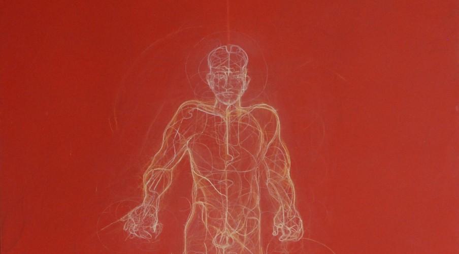 Homme sur fond rouge - Technique mixte - Bois - 90 cm x 90 cm
