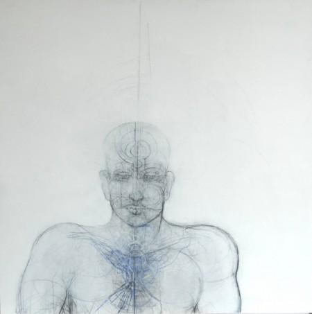 Homme - Pectoral - Technique mixte - Bois - 120 cm x 120 cm