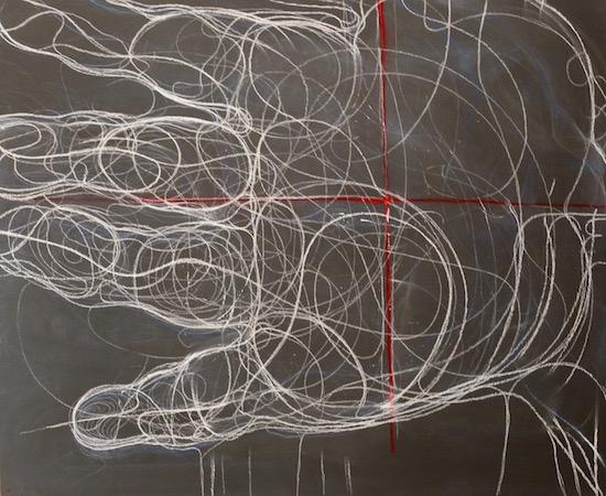 Main, craie sur bois, 100 x 122 cm, 2016