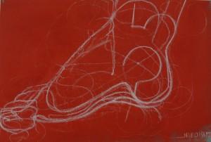 Pied sur fond rouge - Craie sur carton - 24 cm x 36 cm
